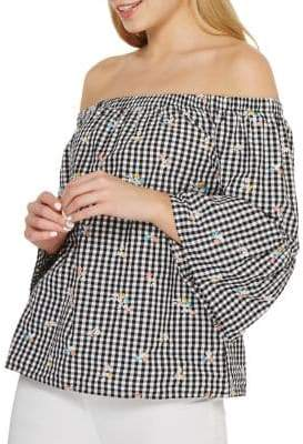 Dorothy Perkins Embroidered Gingham Bardot Top