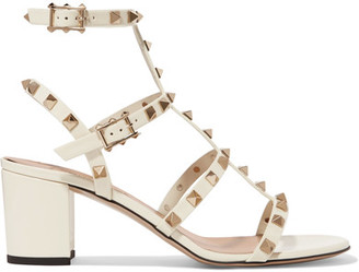 Valentino - The Rockstud Patent-leather Sandals - Off-white $1,045 thestylecure.com