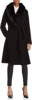 Lauren Ralph Lauren Black Faux Fur Wrap Coat
