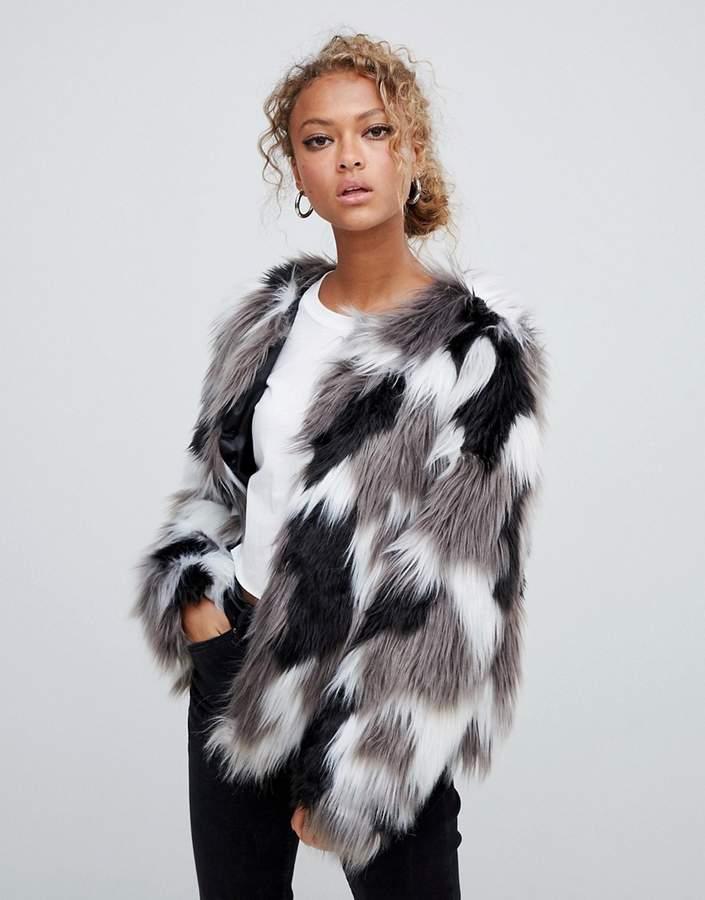 Tonal Faux Fur Collarless Coat
