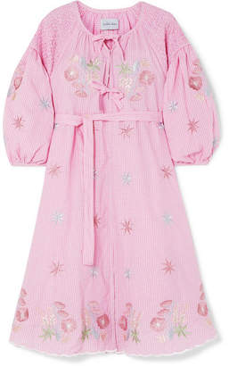 Innika Choo - Smocked Embroidered Gingham Cotton Dress - Pink