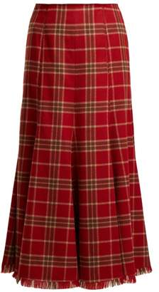 Gabriela Hearst Amy Cashmere And Silk Blend Flannel Midi Skirt - Womens - Red Print