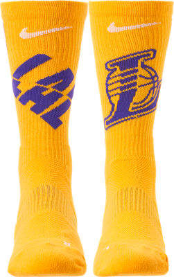 Nike Unisex Los Angeles Lakers NBA Team Elite Crew Basketball Socks
