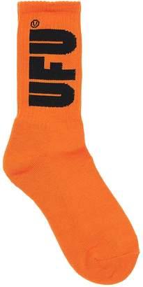 Ufu Used Future Logo Intarsia Cotton Blend Knit Socks