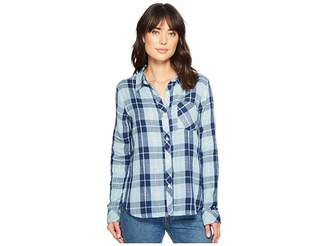 True Grit Dylan by Denim and Chambray Plaid One-Pocket Luxe Double Cloth Shirt Women's Long Sleeve Button Up