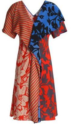 ff1b865c62f Diane von Furstenberg Paneled Printed Silk Crepe De Chine Dress