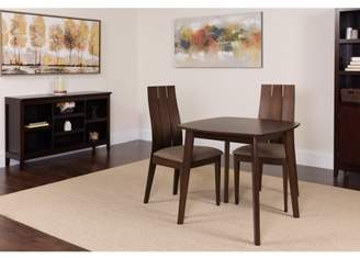 Barrington Flash Furniture 3 Piece Espresso Wood Dining Table Set with Wide Slat Back Wood Dining Chairs - Padded Seats