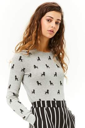 Forever 21 Poodle Print Knit Sweater