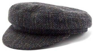 Isabel Marant Evie Herringbone Wool Baker Boy Hat - Womens - Grey