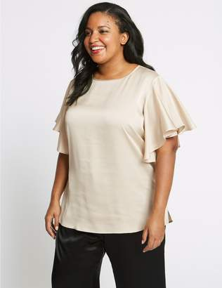 Marks and Spencer CURVE Round Neck Ruffle Sleeve Satin Blouse