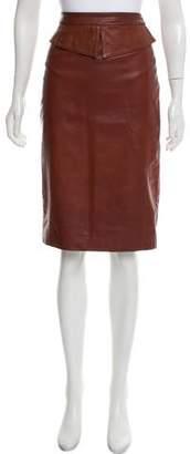 Jenni Kayne Leather Knee-Length Pencil Skirt