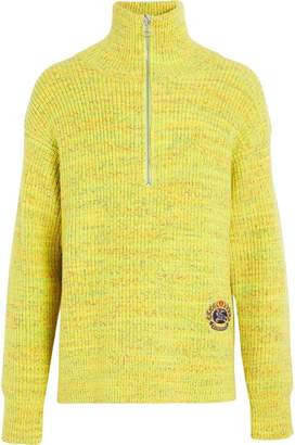 Burberry Rib Knit Wool Cashmere Blend Half-zip Sweater