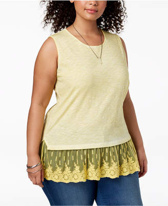 Style&Co. Plus Size Sheer-Hem Sleeveless Top, Created for Macy's
