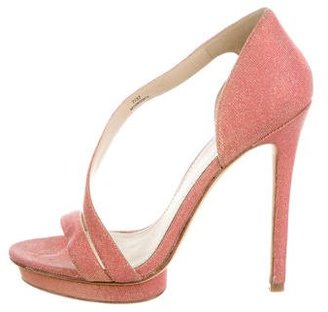 B Brian Atwood Metallic Platform Sandals $95 thestylecure.com
