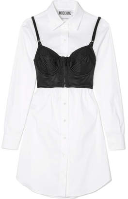 Moschino Layered Lace-trimmed Satin And Cotton-blend Poplin Dress - White