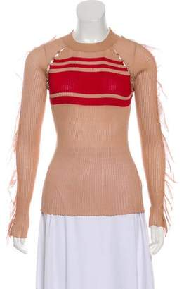 Self-Portrait Stripe Frill Sweater