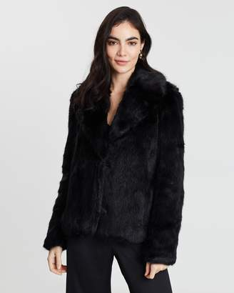Miss Selfridge Short Plush Faux Fur Coat