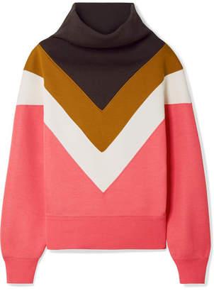 Marc Jacobs Oversized Ribbed Knit-paneled Jersey Sweatshirt - Bubblegum