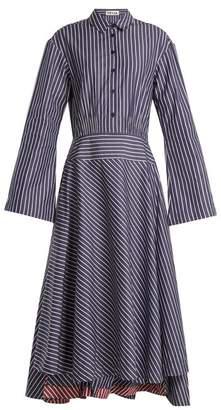 TEIJA Point collar striped cotton dress