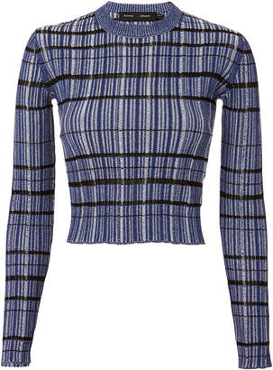 Proenza Schouler Blue Grid Crop Top