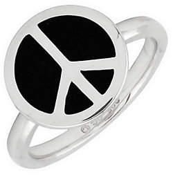 Simply Stacks Sterling Epoxy Enamel Peace SignR