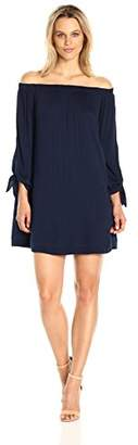 Michael Stars Women's Romy Rayon Off Shoulder Tie Sleeve Dress