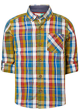 John Lewis Boys' Check Shirt, Green