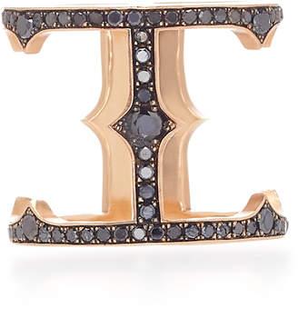 Black Diamond Sylva & Cie 14K Rose Gold and Cage Ring