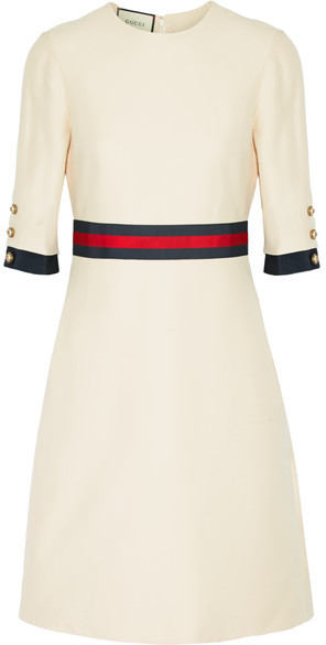 Gucci Gucci - Grosgrain-trimmed Wool And Silk-blend Mini Dress - Cream