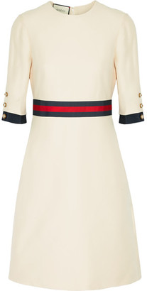 Gucci - Grosgrain-trimmed Wool And Silk-blend Mini Dress - Cream $1,980 thestylecure.com