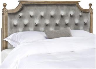 Safavieh Rustic Wood Grey Tufted Velvet Queen Headboard