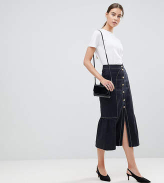 Asos Tall TALL Midi Skirt with Buttons and Contrast Stitching