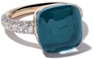 Pomellato 18kt rose & white gold Nudo topaz & diamond ring