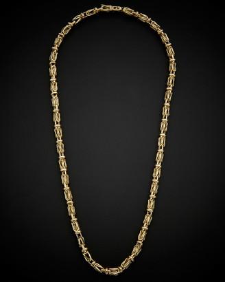 Italian Gold 14K Men's Fancy Square Byzantine Necklace