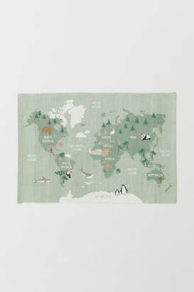 H&M World Map Cotton Rug - Green