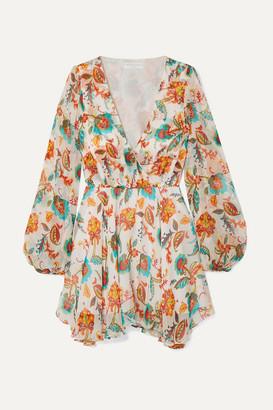 Caroline Constas Olena Floral-print Silk-chiffon Mini Dress - White