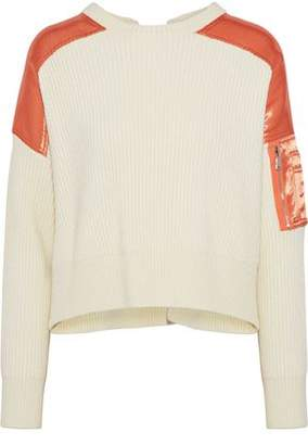 Maje Satin-Paneled Ribbed Wool-Blend Sweater