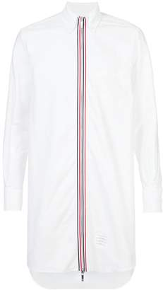 Thom Browne Thigh Length Long Sleeve Point Collar Zip Front Shirt In Oxford