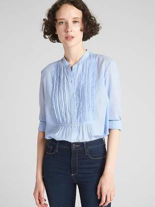 Gap Long Sleeve Pintuck Shirt in End-On-End Cotton
