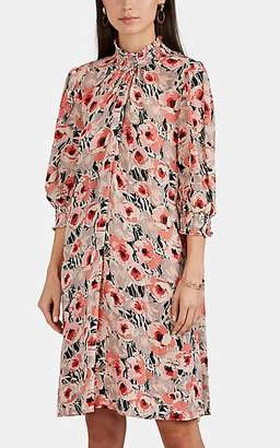 By Ti Mo byTiMo Women's Smocked-Neck Floral Georgette Shift Dress