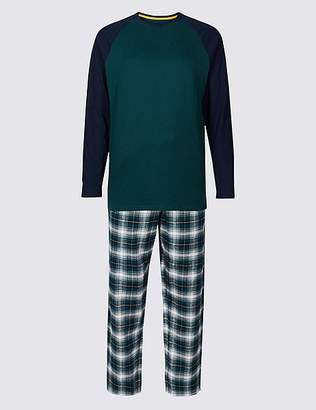 Marks and Spencer Brushed Cotton Checked Pyjama Set
