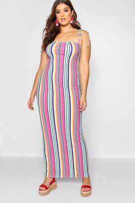 boohoo Plus Bold Stripe Tie Shoulder Jersey Maxi Dress