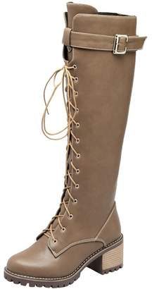 94aedf7c3f9 Agodor Womens Knee High Lace Up Mid Block Heel Platform Long Boots with Zip  Buckle Winter