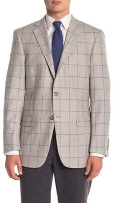 Hart Schaffner Marx Light Grey Windowpane Two Button Notch Lapel Classic Fit Blazer