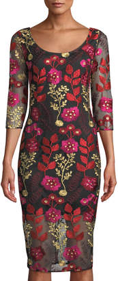 Alexia Admor 3/4-Sleeve Floral Embroidered Sheath Dress