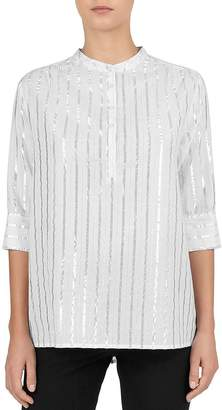 Gerard Darel Estelle Metallic-Stripe Popover Blouse