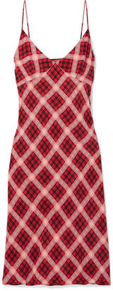 Marc Jacobs Checked Washed-silk Midi Dress - Red
