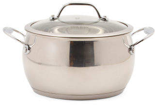 4qt Stainless Steel Splendor Belly Sauce Pot With Lid