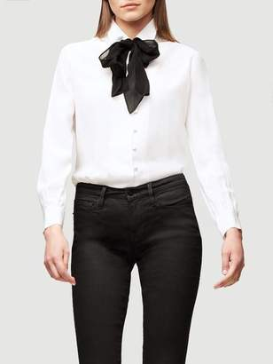 Frame Pussy Bow Silk Blouse