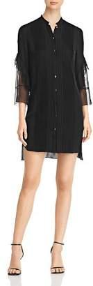 Elie Tahari Sawyer Pleated Silk Shirt Dress